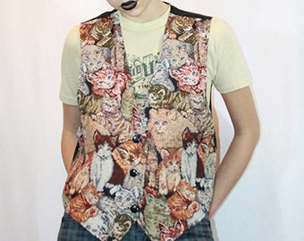 On Sale!! Vintage Embroidered 90s Cat Collage Vest