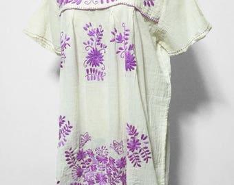 Hand Embroidered Dress Cotton Mini Dress, Boho Dress, Hippie Dress, Oaxacan Dress