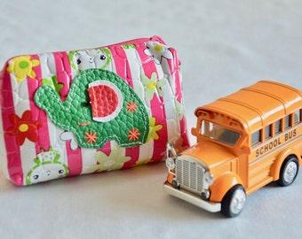 Stripe Hot Pink Pouch Green Elephant Handmade Clutch Purse Coin Bag CW446