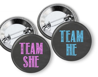 He or She Gender Reveal Buttons Party Favors Team Pink Team Blue Pinback Button Sets Baby shower