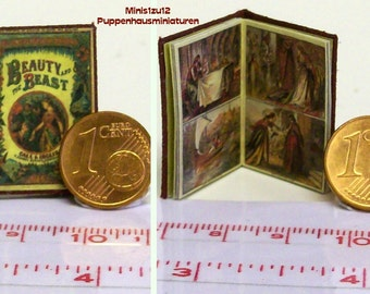 """1216# Children's Book """"Beauty and the Beast"""" - Doll house miniature in scale 1/12"""