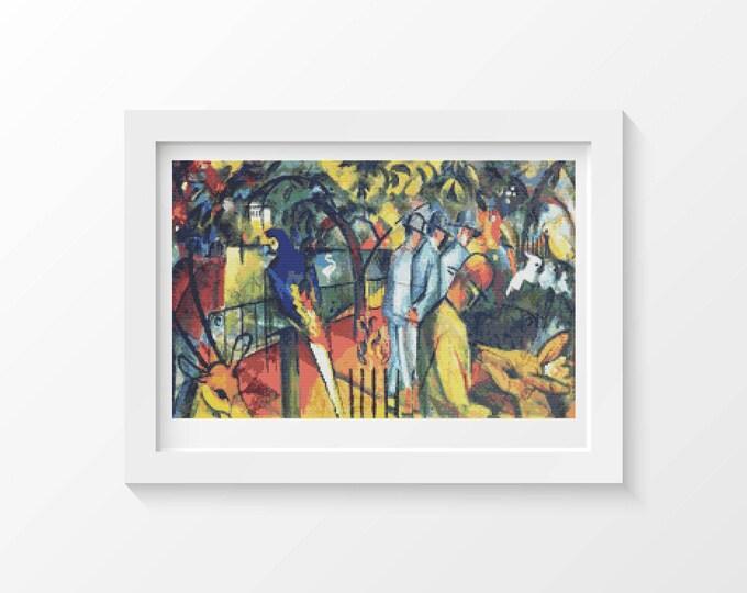Cross Stitch Pattern PDF, Embroidery Chart, Abstract Art Cross Stitch, Zoological Garden by August Macke (MACKE06)