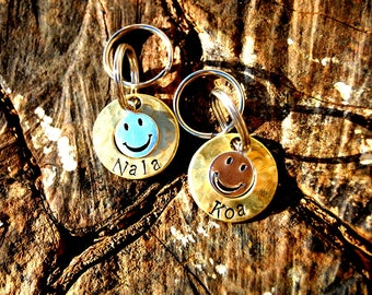 Personalized Smiley Small Dog ID Tag, Custom Brass Smile Small Dog Tag, Personalized Fun Emoji Dog ID Tag, Cute Emoji Smile Dog ID Tag