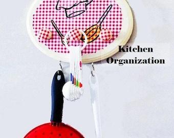 Oval Kitchen Chef Organizer...Red Checkered Wooden Spoon & Potholder Hanger...Pretty Farmhouse Chic Decor