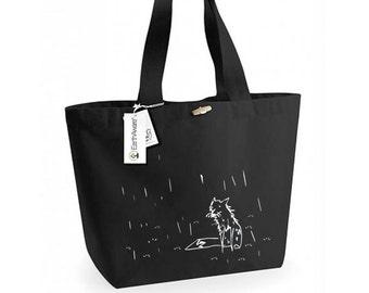 Cool large bag, birthday gift, black tote bag, extra large handbag, shoulder bag, smoker's tote, fox bag