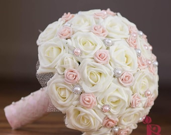 Blush Pink Wedding Bouquet Ivory And Bridal Vintage Chic