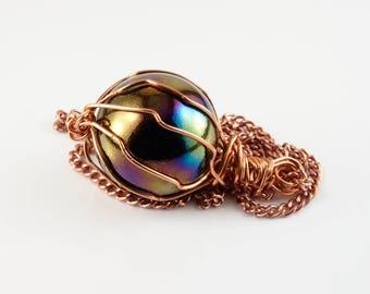 Oil slick necklace - Glass marble pendant - Copper wire jewelry - Multicolor glass pendant - Unique necklace - Dark jewelry - Glass ball