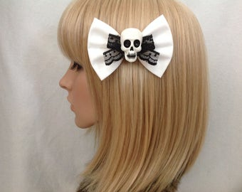 White black lace skull hair bow clip rockabilly psychobilly gothic Lolita rock punk pin up girl creepy skeleton fabric ladies girls women