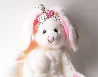 Retro Rockabilly Rabbit Easter Bunny Bean Framed! Pink Rose Black & White Polka Dot Cute Huggable Funny Gift Vintage 90s Stuffed Animal Toy