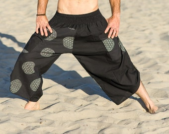 Mens Harem Pants, Mens Yoga Shorts, Samurai Shorts, Burning Man, Sacred Geometry Clothing, Festival Pants, Tribal Pants, Buddha Pants, Ninja
