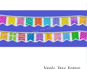 """Die Cut """"Flag Banner"""" Japanese Washi Tape - 15mm x 5m - Planners Decoration Scrapbooks Card-making Birthday Party Celebrations"""