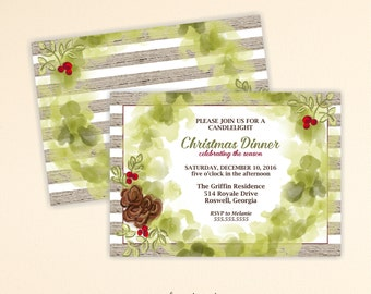 Christmas Invitation, Christmas Dinner Invitation, Brunch, Open House, Cocktails, Tea, Christmas Corporate Party, Holiday Party, C13001