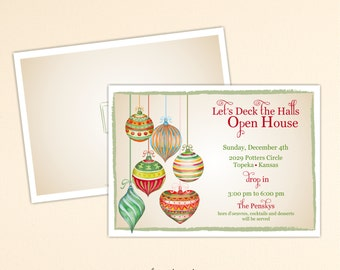 Christmas Open House Invitation, Holiday Party, Luncheon, Cocktail Party, Holiday Birthday Party, Corporate Christmas Invite, C2002