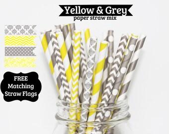 Paper Straw Mix  50 Yellow & Gray PAPER STRAWS birthday party wedding bridal shower baby shower event cake pop sticks Bonus diy straws flag