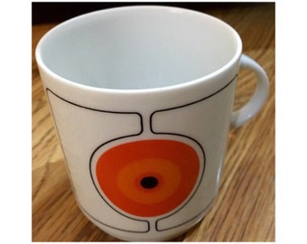 Vintage Retro THOMAS ROSENTHAL German Eclipse Mug Coffee Cup Orange Red Circles