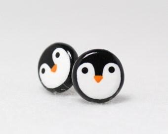 Cute Penguin Earrings - Holiday Earrings - Polymer Clay Stud Earrings - Penguin Jewelry - Christmas Jewelry - Christmas Earrings