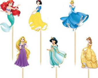 Disney Princess Party, Disney Princess birthday, Ariel, Rapunzel, Cinderella, Snow white, The little mermaid, Princess party, cupcake picks