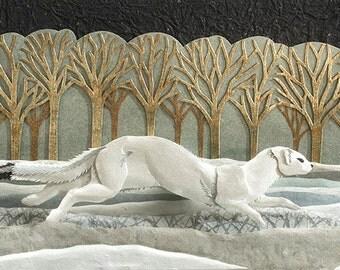 Blank Card - 'Run I' - Winter Ermine Weasel Paper Sculpture, Print