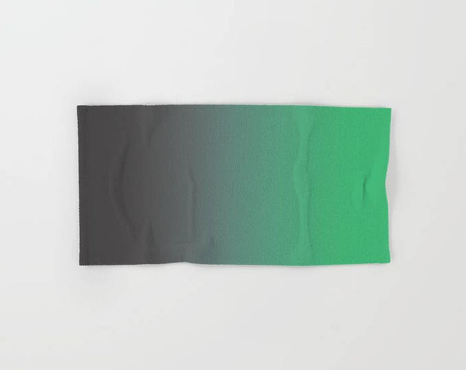 Bath Towel - Gray to Green Ombre - Microfiber - Cotton Terry Cloth - Made to Order