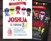 Power Ranger Invitations, Power Rangers Birthday, Power Ranger Birthday Party, Power Ranger Party, Digital Invitation
