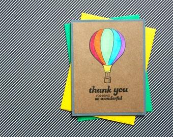 Hot Air Balloon Thank You, Handmade Card Set, Summer Thank You, Hot Air Balloon Card, Handmade Thank You Set, Balloon Thank You, Baby Shower