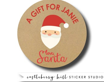 A gift from santa personalized gift sticker, custom santa gift tag, santa sticker, north pole sticker, do not open until Christmas sticker