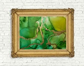 Original painting green abstract art painting gold details decor wallart
