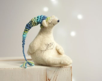 Needle Felted Bear - Dreamy White Bear With A Nightcap - Needle Felt Art Doll - Withe Polar Bear - Needle Felt Animals - Fiber Art Dolls