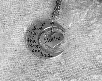 I Love You to the Moon and Back Mother Necklace, Mother's Day Gift, Gift for Mom, Heart Mother, Birthstone Option