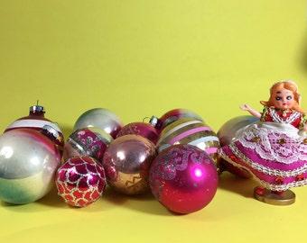 Pink Shiny Brite Christmas Ornament Set, Glass, Mid Century, Stencil, Stripe, 1950's- 1960's