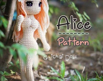 Alice Pattern, With Bikini and Green Dress, Crochet Doll Pattern - Alice (Guichai Dolls Pattern, Amigurumi, Photo tutorial)