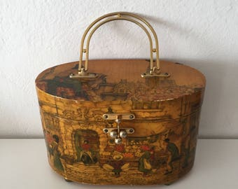 VTG Painted Wooden Scene Metal Handle Box Purse
