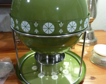 Vtg Mid Century Catherineholm Avocado Green Fondue Pot Kettle Enamelware Saturn