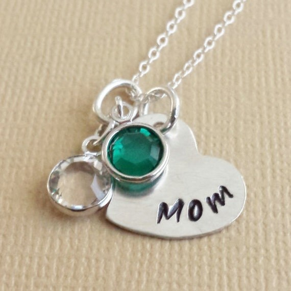 Personalized Mom Necklace - Gift for Mom - Hand Stamped Heart Necklace - Birthstone Necklace – Hand Stamped Sterling Silver Heart