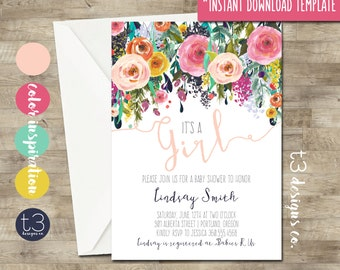 Instant Download Whimsical Girl Baby Shower Invitation, DIY PDF,  girl baby shower invite, floral baby shower, watercolor baby shower, T3
