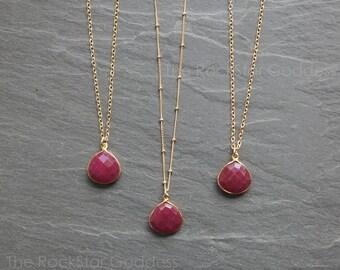 Ruby Necklace // Ruby Jewelry // July Birthstone // Ruby Pendant // Gold Ruby Necklace // Ruby Bezel // Gold Ruby Necklace // Ruby