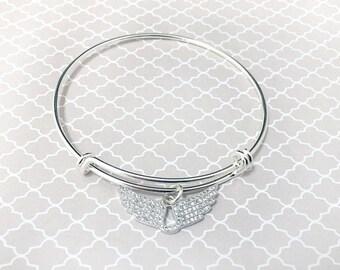 Silver Rhinestone Wings Adjustable Bracelet
