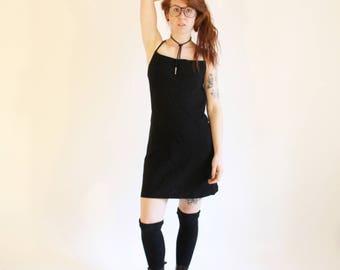 90s Black Minidress Vintage Club Monaco Tie Up Dress Open Back Dress Little Black Dress 90s Grunge Vintage Lace Up Dress