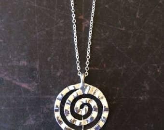 Spiral Necklace - Spiral Jewelry - Spiral Pendant - Circle Necklace - Circle Necklace Silver - Round Necklace - Round Pendant - Necklace