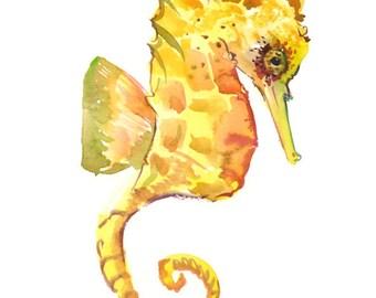 Seahorse Wall decor, seahorse art, one of  a kind original watercolor painting, seahorse art, nursery art, nursery painting