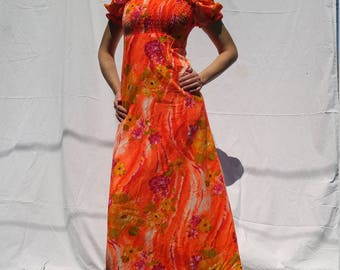 Bright 80's 90's Long Hawaiian Dress