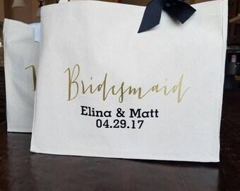 Personalized Bag - Canvas Tote Bag - Bridesmaid Tote  - Bridesmaid Gift - Bride Tote- Wedding Bag - Custom Bag- Personalized Bag