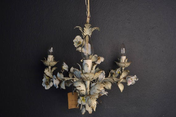 Old tole Flower Chandelier with porcelain roses.