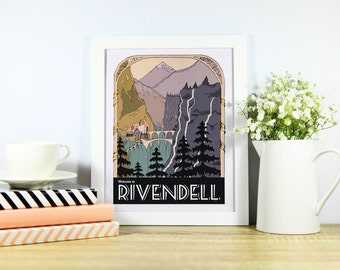 Welcome to Rivendell. Lord of the Rings Inspired Rivendell Retro Travel Poster