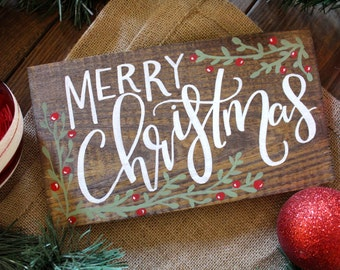 Merry Christmas Sign Customize Your Own Rustic Holiday Decor Wreath