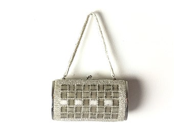 Silver clutch Silver bag silver purse evening bag formal bag vintage purse beaded bag beaded purse 1960s purse 1960s bag, 60s purse, 60s bag