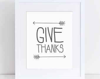 Thanksgiving Printable, Give Thanks Sign, Thanksgiving Decor, Thankful Printable, Grey, Thanksgiving Dinner Decor, Thanksgiving Door Sign