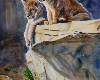 On Point, giclee print reproduction of original watercolor painting of lion cubs