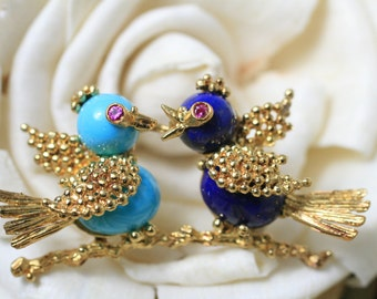 Love Birds/Pin/Turquoise & Lapis Love Birds/YG Bird Pin/Turquoise/Lapis/Rubies/18 kt YG Pin/Bird Jewelry/Love Bird Jewelry/YG Love Bird Pin