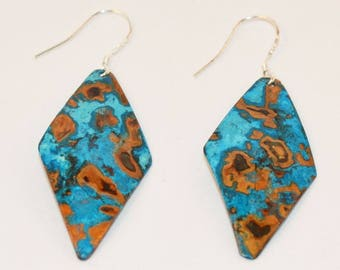 Diamond Copper Earrings with Blue-Green Patina